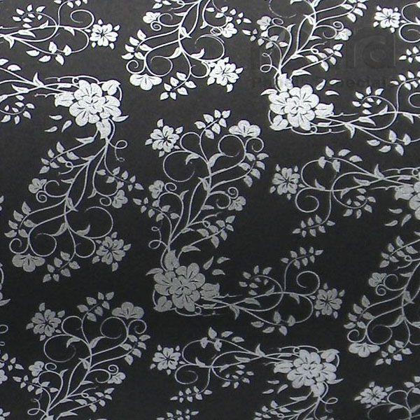 Papel Floral Ref 02 - Preto com Prata - Tam. 47x65cm - 180g/m²