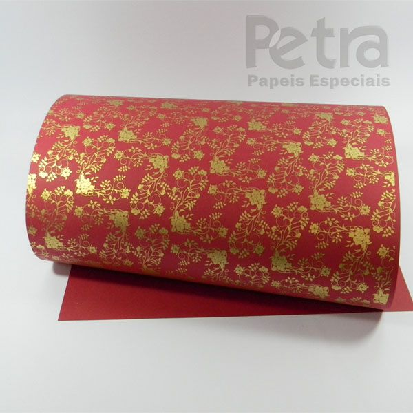 Papel Floral Ref 02 - Vermelho com Dourado - Tam. 30,5x30,5 - 180g/m²