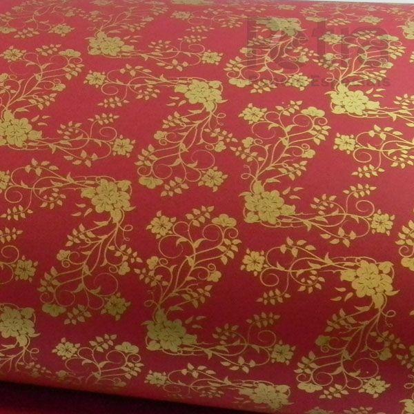 Papel Floral Ref 02 - Vermelho com Dourado - Tam. 32x65cm - 180g/m²