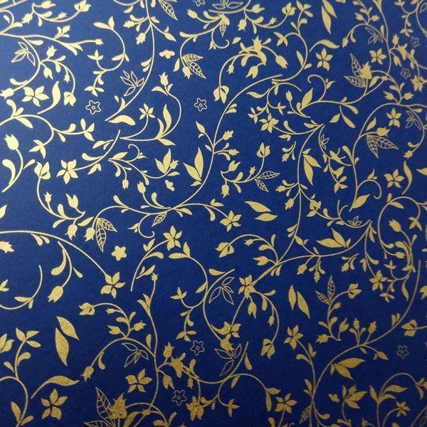 Papel Floral Ref 03 - Azul Escuro com Dourado - Tam. 32x65 cm - 180g/m²