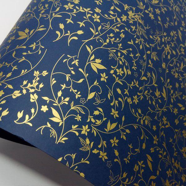 Papel Floral Ref 03 -  Azul Escuro com Dourado - Tam. 47x65cm - 180g/m²