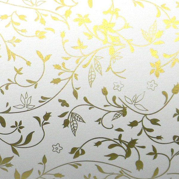 Papel Floral Ref 03 - Branco com Dourado - Tam. 30,5x30,5 - 180g/m²