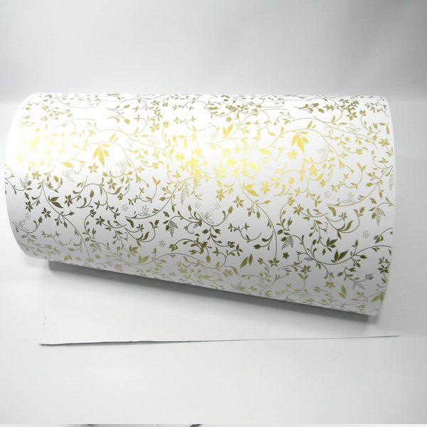 Papel Floral Ref 03 - Branco com Dourado - Tam. 32x65cm - 180g/m²