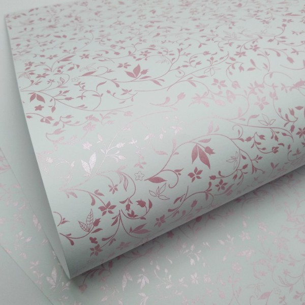 Papel Floral Ref 03 - Branco com Rosa Metalizado - Tam. A3 - 180g/m²