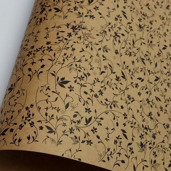 Papel Floral Ref 03 - Kraft com Preto - Tam. 30,5x30,5 - 180g/m²