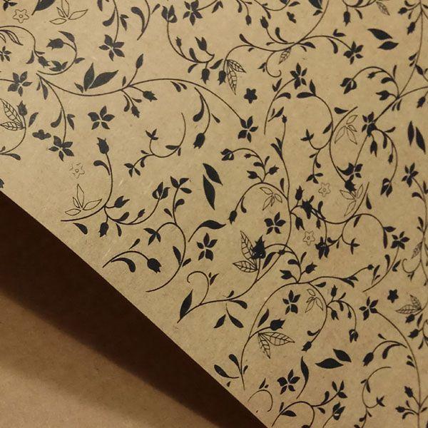 Papel Floral Ref 03 - Kraft com Preto - Tam. A3 - 180g/m²