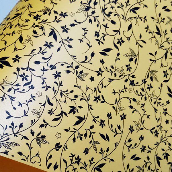 Papel Floral Ref 03 - Pérola Amarelo com Preto - Tam. 30,5x30,5cm - 180g/m²