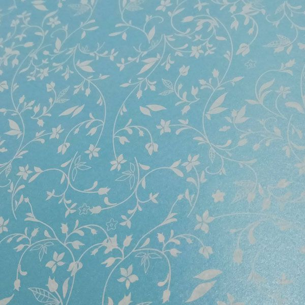 Papel Floral Ref 03 - Pérola Azul Claro com Branco - Tam. 47x65cm - 180g/m²