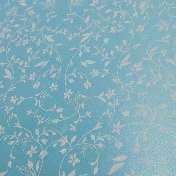 Papel Floral Ref 03 - Pérola Azul Claro com Branco - Tam. A4 - 180g/m²