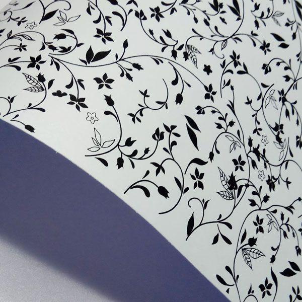 Papel Floral Ref 03 - Pérola Branca com Preto - Tam. 30,5x30,5cm - 180g/m²