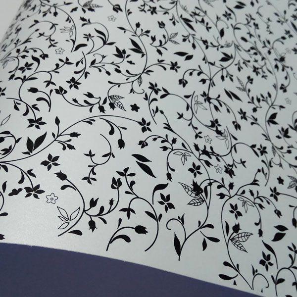 Papel Floral Ref 03 - Pérola Branca com Preto - Tam. 32x65cm - 180g/m²