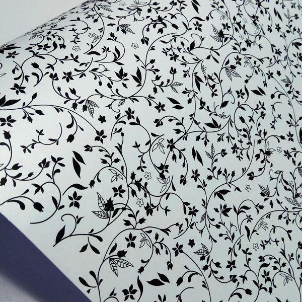 Papel Floral Ref 03 - Pérola Branca com Preto - Tam. A4 - 180g/m²