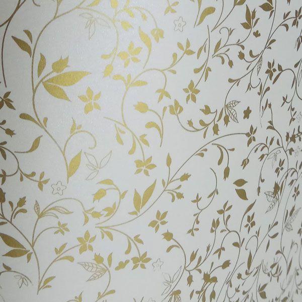 Papel Floral Ref 03 - Pérola com Dourado - Tam. 32x65cm - 180g/m²
