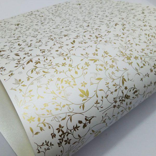 Papel Floral Ref 03 - Pérola com Dourado - Tam. 47x65cm - 180g/m²