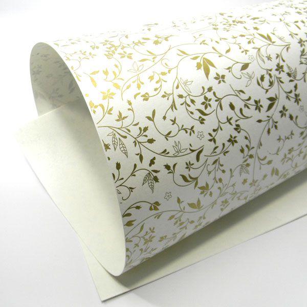 Papel Floral Ref 03 - Pérola com Dourado - Tam. A4 - 180g/m²
