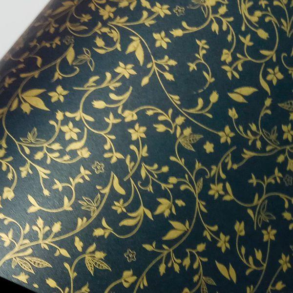 Papel Floral Ref 03 - Pérola Negra com Dourado - Tam. 30,5x30,5cm - 180g/m²