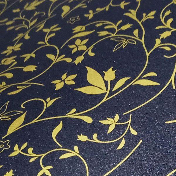 Papel Floral Ref 03 - Pérola Negra com Dourado - Tam. 47x65cm - 180g/m²