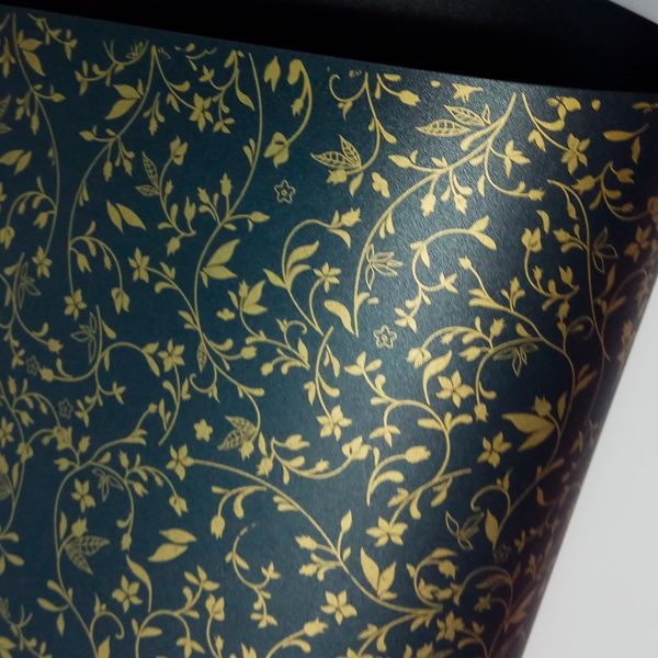 Papel Floral Ref 03 - Pérola Negra com Dourado - Tam. A3 - 180g/m²