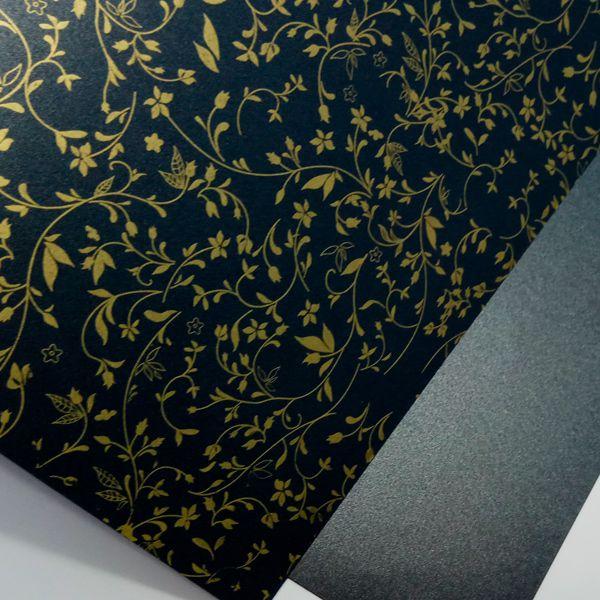 Papel Floral Ref 03 - Pérola Negra com Dourado - Tam. A4 - 180g/m²