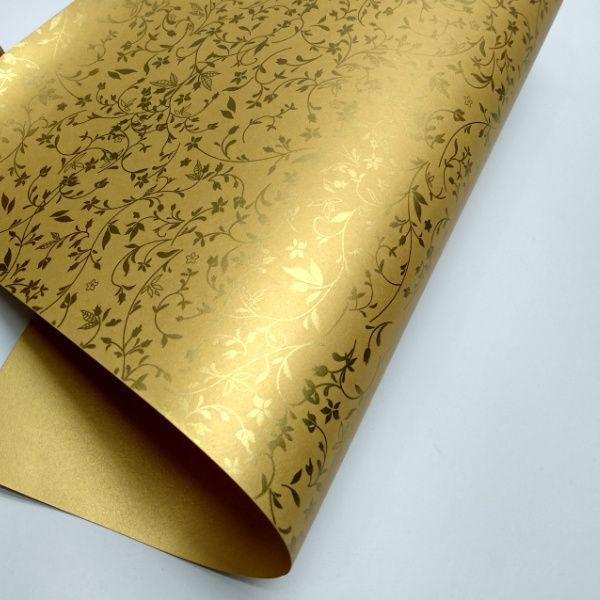 Papel Floral Ref 03 - Pérola Ouro com Dourado - Tam. A3 - 180g/m²