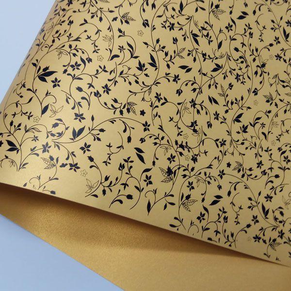 Papel Floral Ref 03 - Pérola Ouro com Preto - Tam. 30,5x30,5cm - 180g/m²