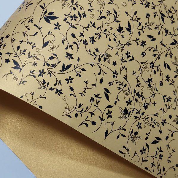 Papel Floral Ref 03 - Pérola Ouro com Preto - Tam. 32x65cm - 180g/m²