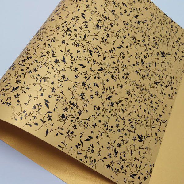 Papel Floral Ref 03 - Pérola Ouro com Preto - Tam. 47x65cm - 180g/m²