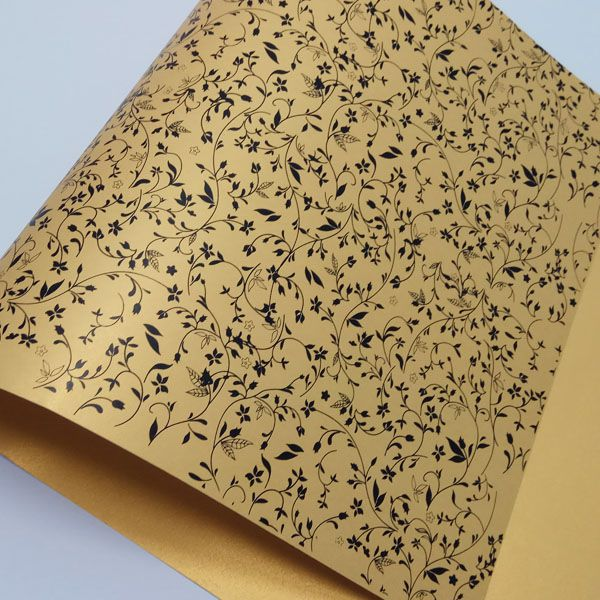 Papel Floral Ref 03 - Pérola Ouro com Preto - Tam. A3 - 180g/m²