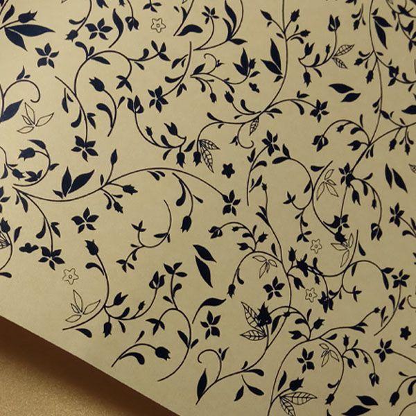 Papel Floral Ref 03 - Pérola Ouro com Preto - Tam. A4 - 180g/m²