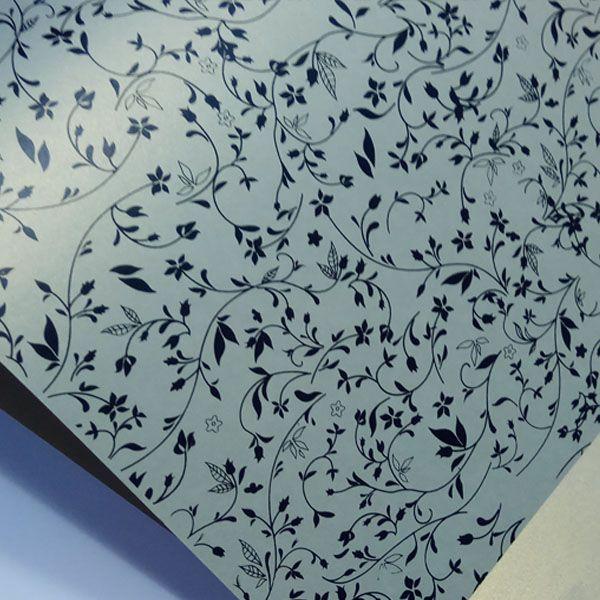 Papel Floral Ref 03 - Pérola Ouro Platino com Preto - Tam. 32x65cm - 180g/m²