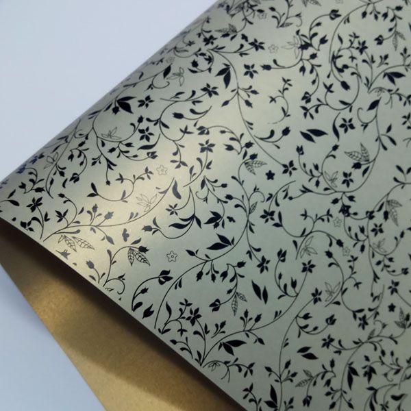 Papel Floral Ref 03 - Pérola Ouro Platino com Preto - Tam. 47x65cm - 180g/m²