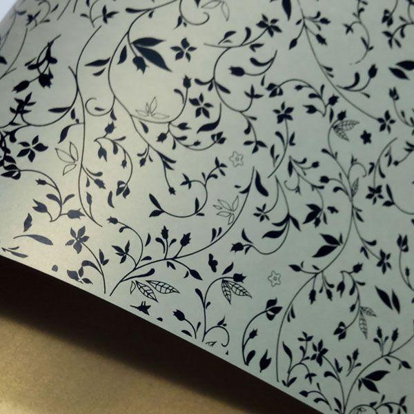 Papel Floral Ref 03 - Pérola Ouro Platino com Preto - Tam. A4 - 180g/m²