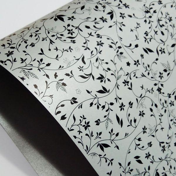 Papel Floral Ref 03 - Pérola Prata com Preto - Tam. 30,5x30,5cm - 180g/m²