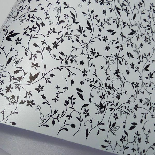 Papel Floral Ref 03 - Pérola Prata com Preto - Tam. 32x65cm - 180g/m²