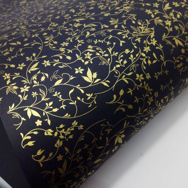 Papel Floral Ref 03 - Preto com Dourado - Tam. 30,5x30,5 - 180g/m²