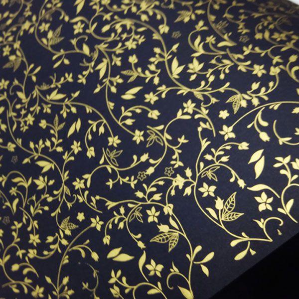 Papel Floral Ref 03 - Preto com Dourado - Tam. 32x65cm - 180g/m²