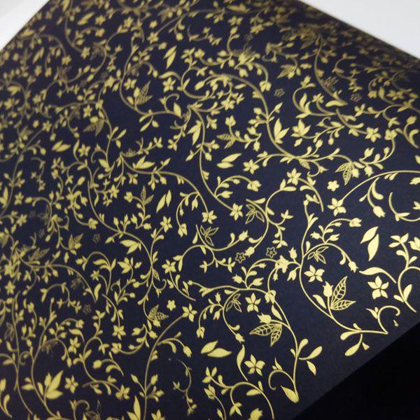 Papel Floral Ref 03 -  Preto com Dourado - Tam. 47x65cm - 180g/m²