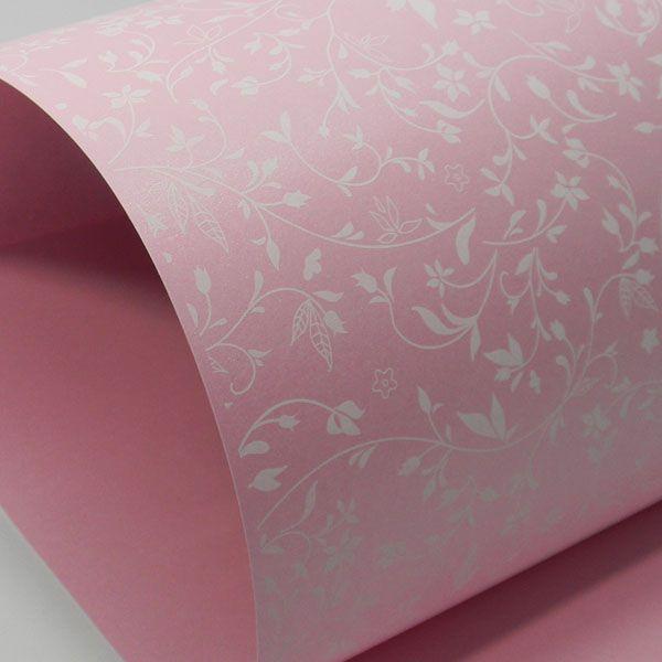 Papel Floral Ref 03 - Rosa com Branco - Tam. A4 - 180g/m²