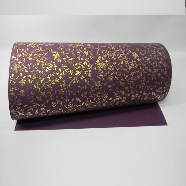 Papel Floral Ref 03 - Roxo com Dourado - Tam. 47x65cm - 180g/m²