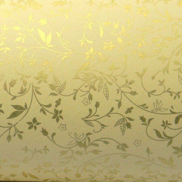 Papel Floral Ref 03 - Sahara com Dourado - Tam. 47x65cm - 180g/m²