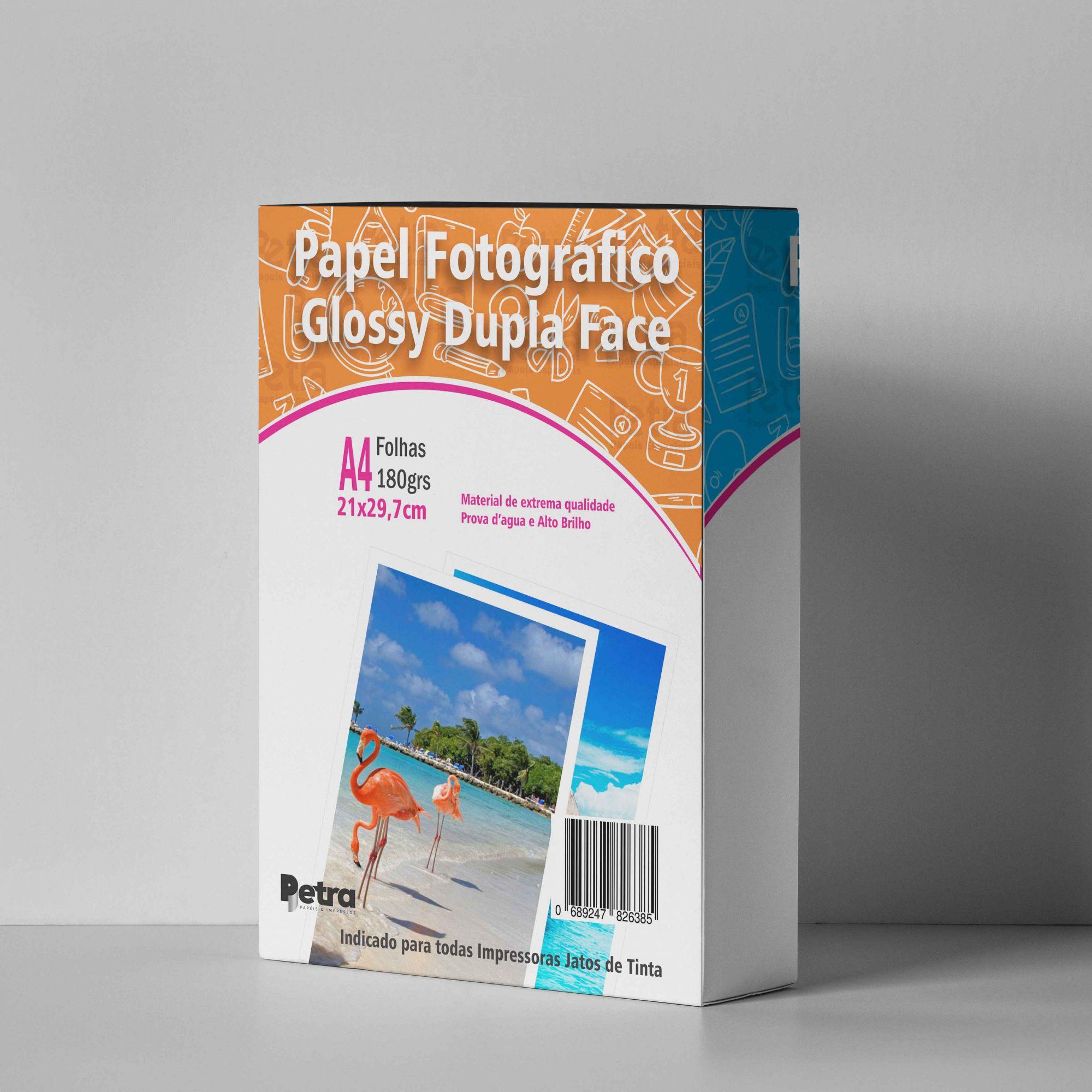 Papel Fotográfico Glossy Dupla Face ‐ A4 ‐ 180g/m² com 20 folhas