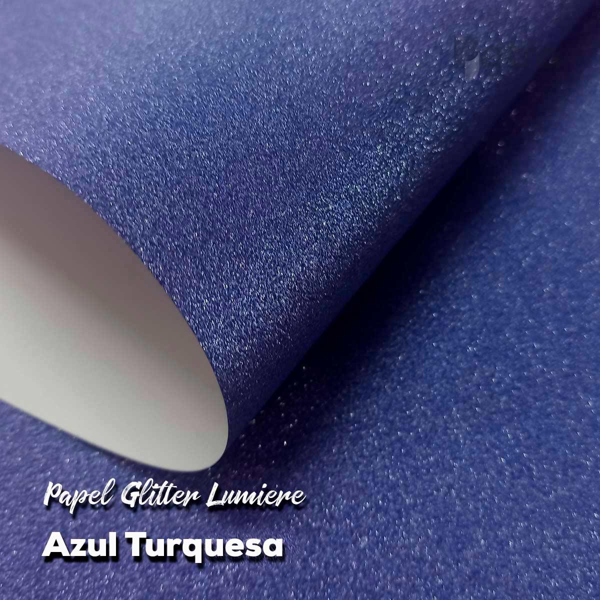 Papel Glitter Azul Turquesa 150g - 30,5x30,5cm com 6 folhas