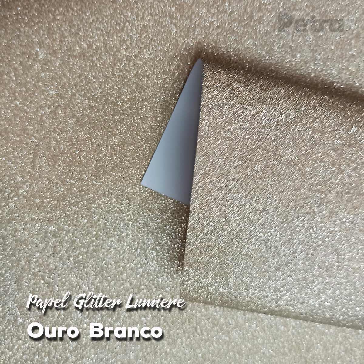Papel Glitter Ouro Branco150g - 30,5x30,5cm com 6 folhas