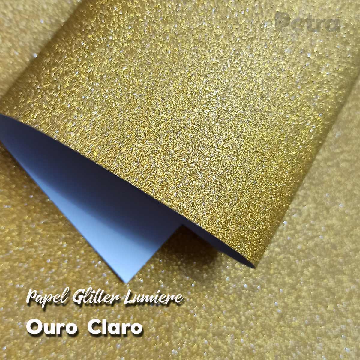 Papel Glitter Ouro Claro 150g - 30,5x30,5cm com 6 folhas