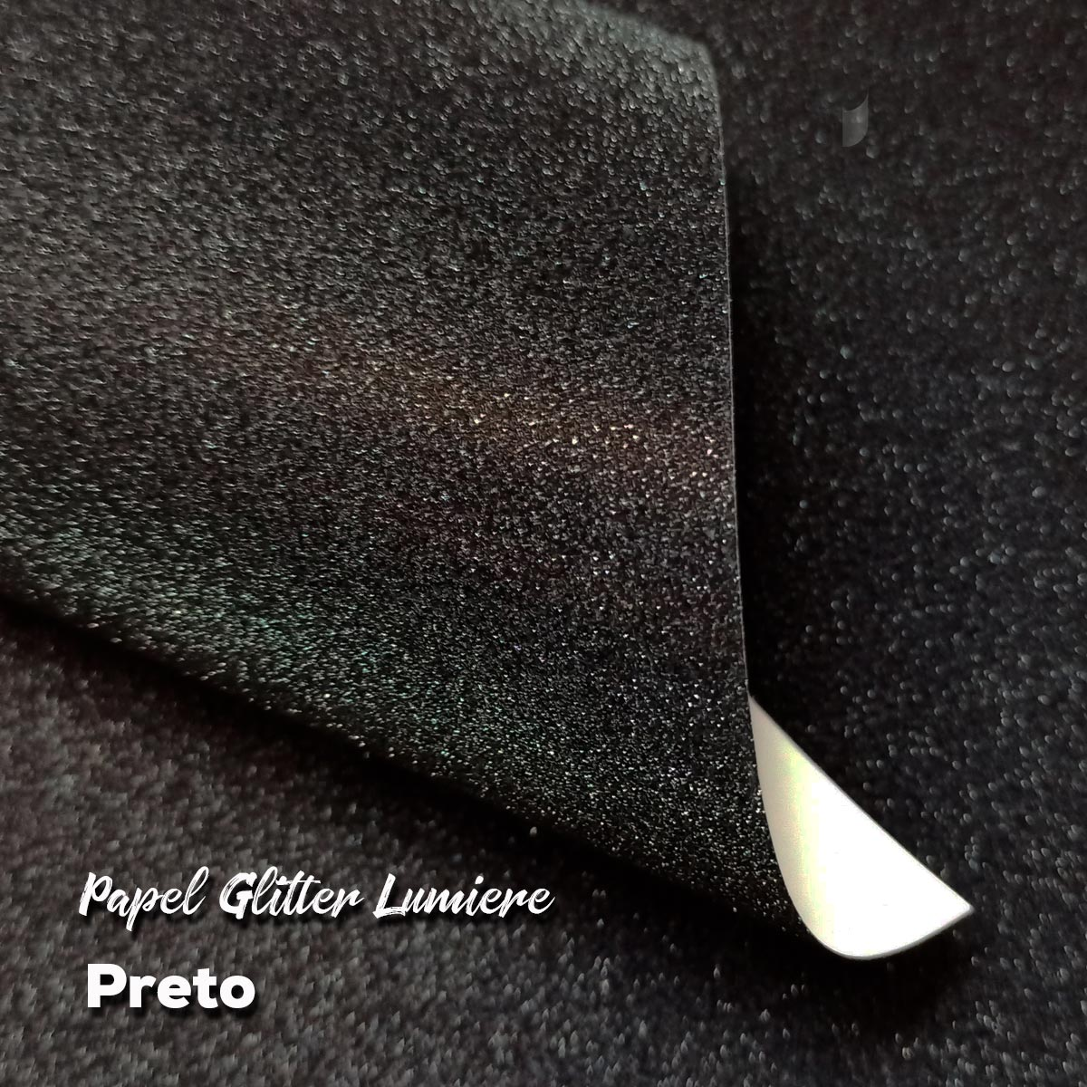 Papel Glitter Preto 150g - Preto 30,5x30,5cm com 6 folhas