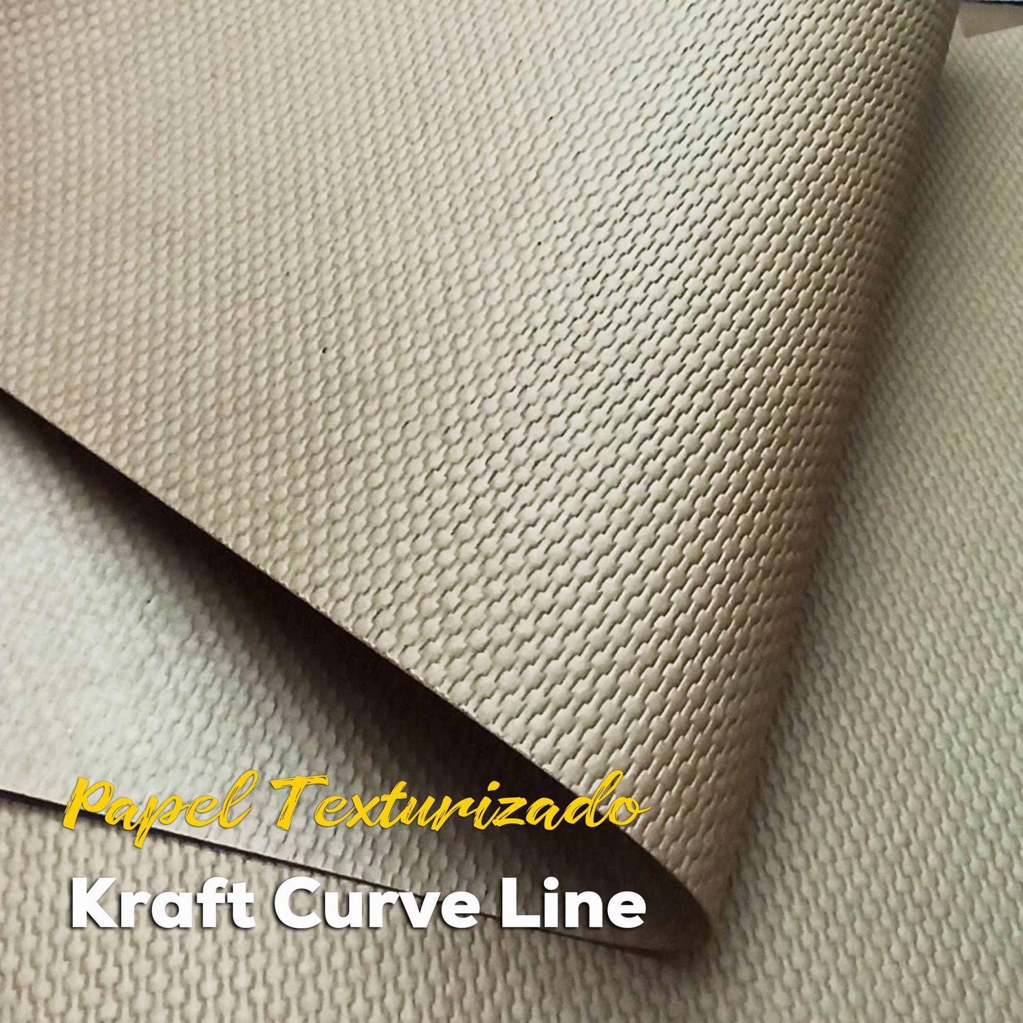 Papel Kraft com textura Curve Line (Ref 975)  300g/m2 - Tamanho 30,5x30,5cm - 6 Folhas