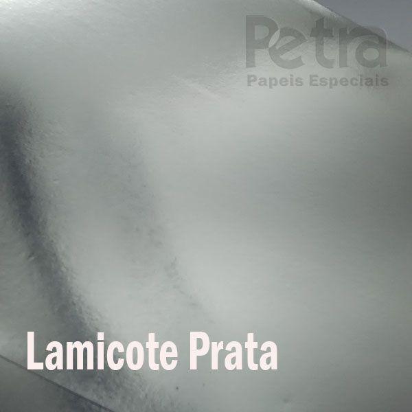 Papel Lamicote Prata brilho Tamanho 30,5x30,5cm 255g/m² com 10 folhas