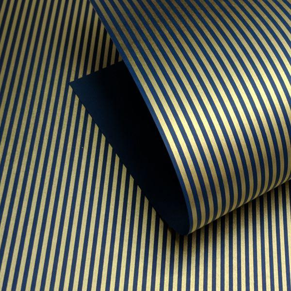 Papel Listrado - Azul Escuro com Dourado - Tam. 30,5x30,5 - 180g/m²