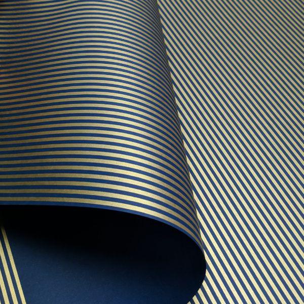 Papel Listrado - Azul Escuro com Dourado - Tam. 32x65cm - 180g/m²