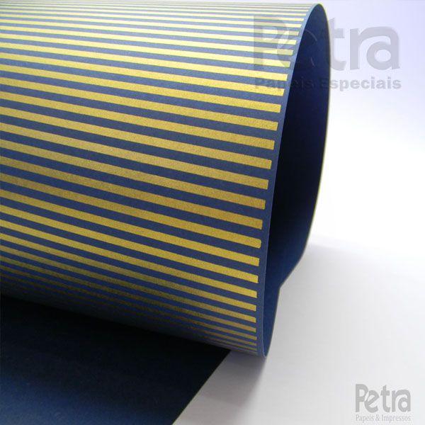 Papel Listrado - Azul Escuro com Dourado - Tam. A3 - 180g/m²